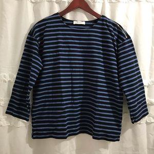 Everlane Breton Black/Navy Striped Top